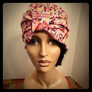 turban pink with design
